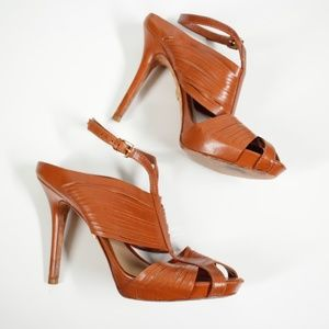 L.A.M.B Brown Leather Strappy Heels Size 9